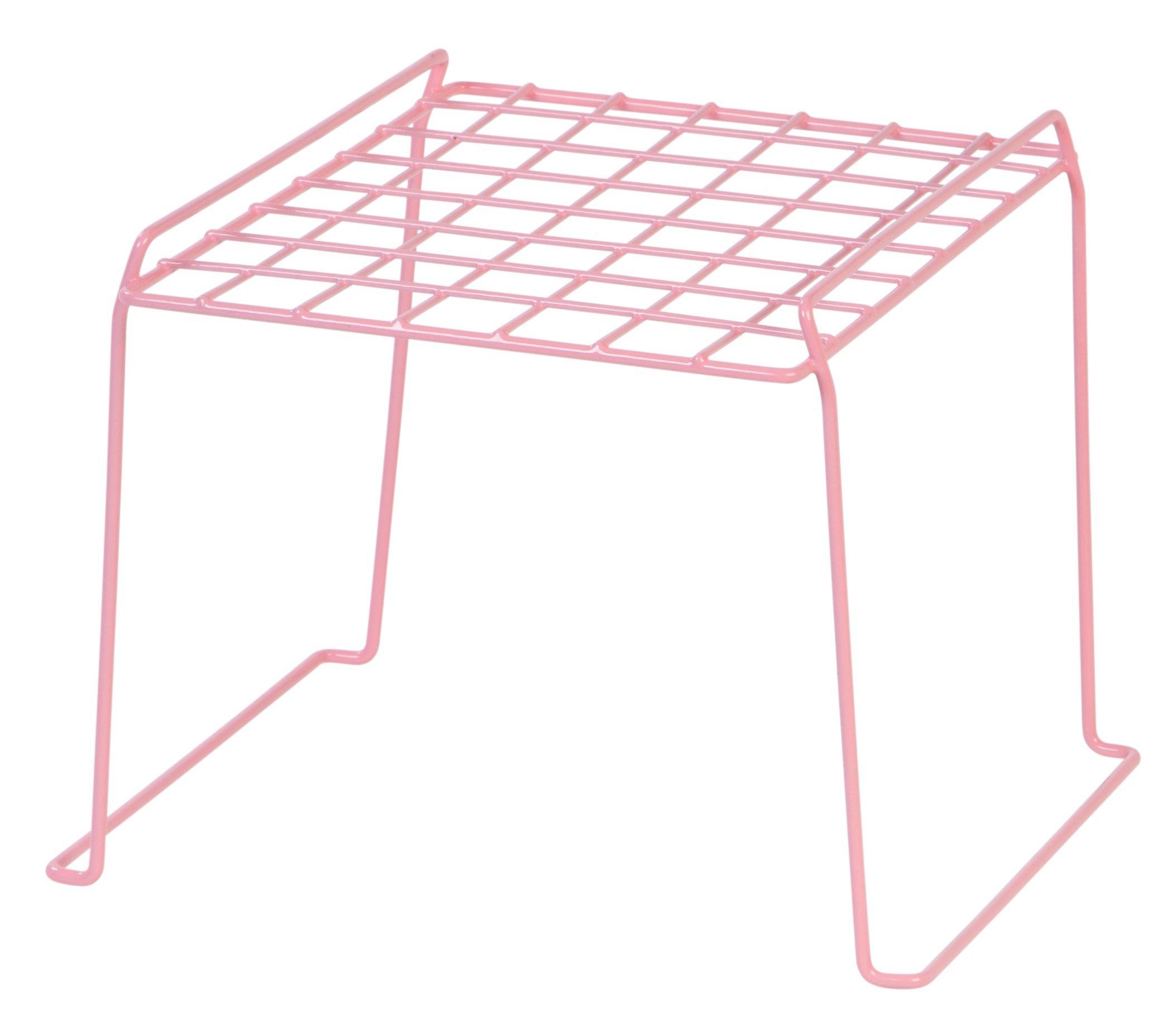 IRIS 8-inch Stackable Wire Locker Shelf, 4-Pack, Pink by IRIS USA, Inc.