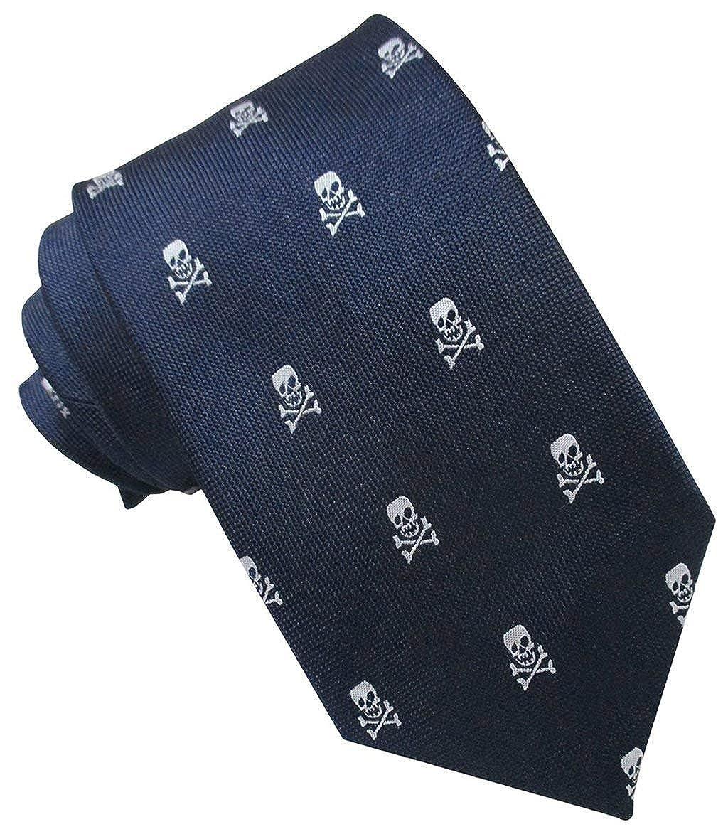Corbata Seda Marino Calaveras Blancas. Corbata de seda para hombre ...