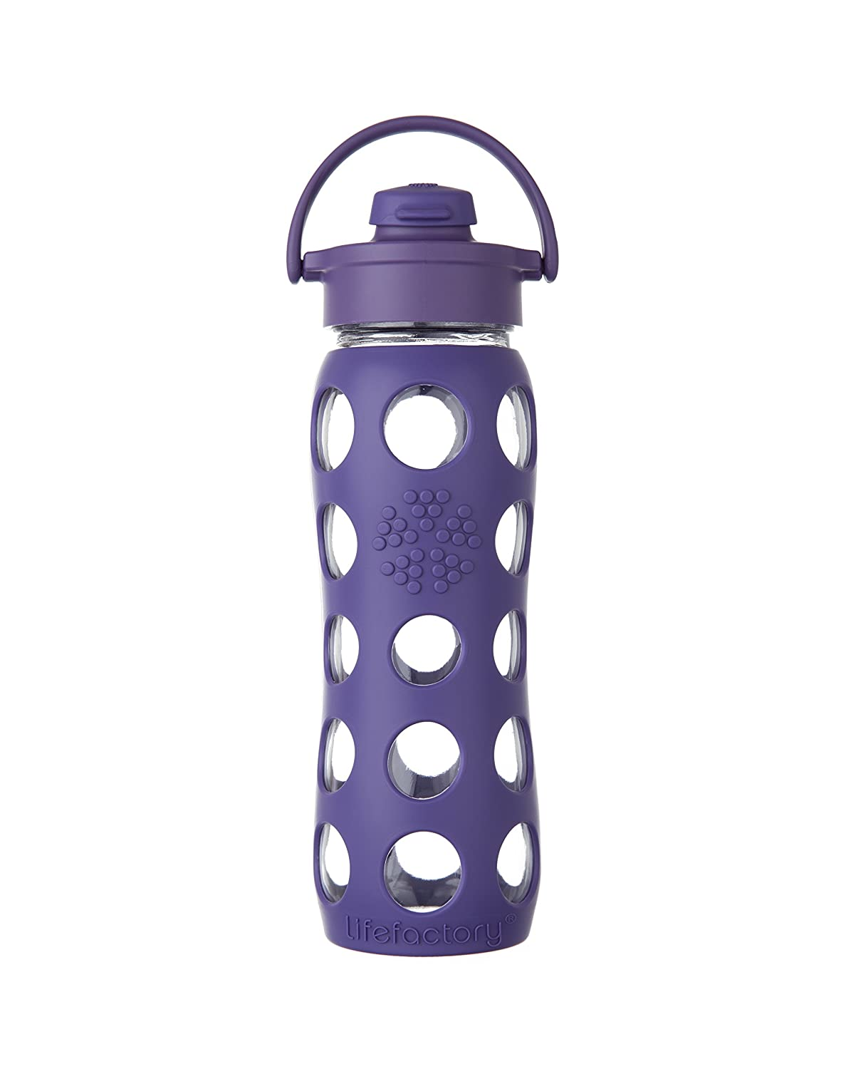 Lifefactory BPA-Free Glass Water Bottle with Flip Cap & Silicone Sleeve, 22 oz, Royal Purple