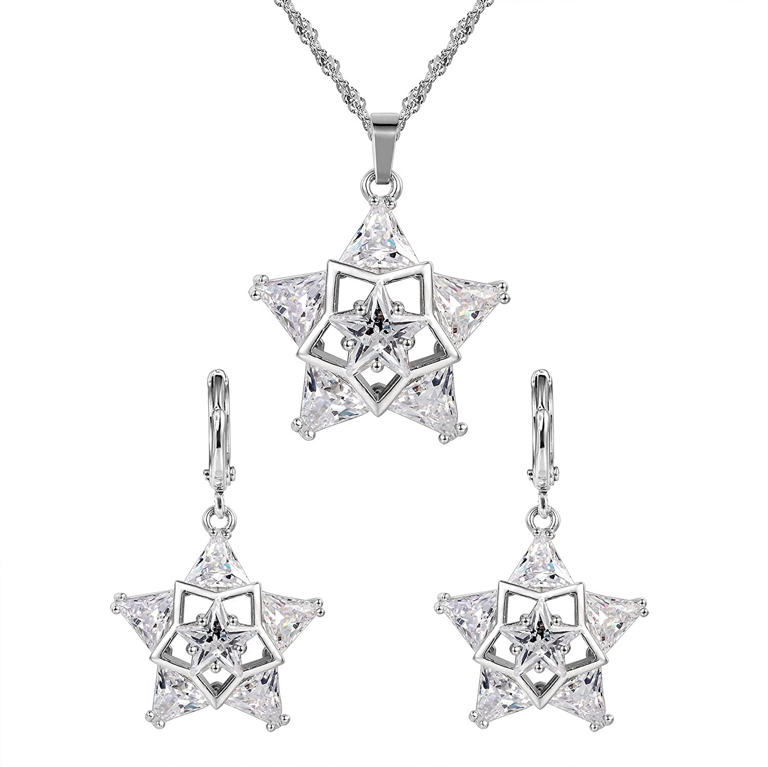 Silver Women Cristal Star Earrings and Pendant Set Fine Jewelry Set for Women