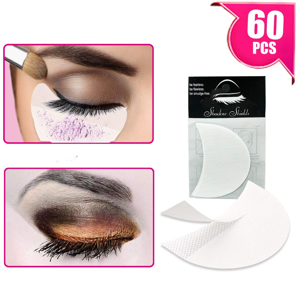 TailaiMei 120 Pcs Professional Eyeshadow Shields for Eye Makeup, Lint Free Eye Pad for Eyelash Extensions/Tinting and Lip Makeup - Under Patches Guards Prevent Makeup Residue