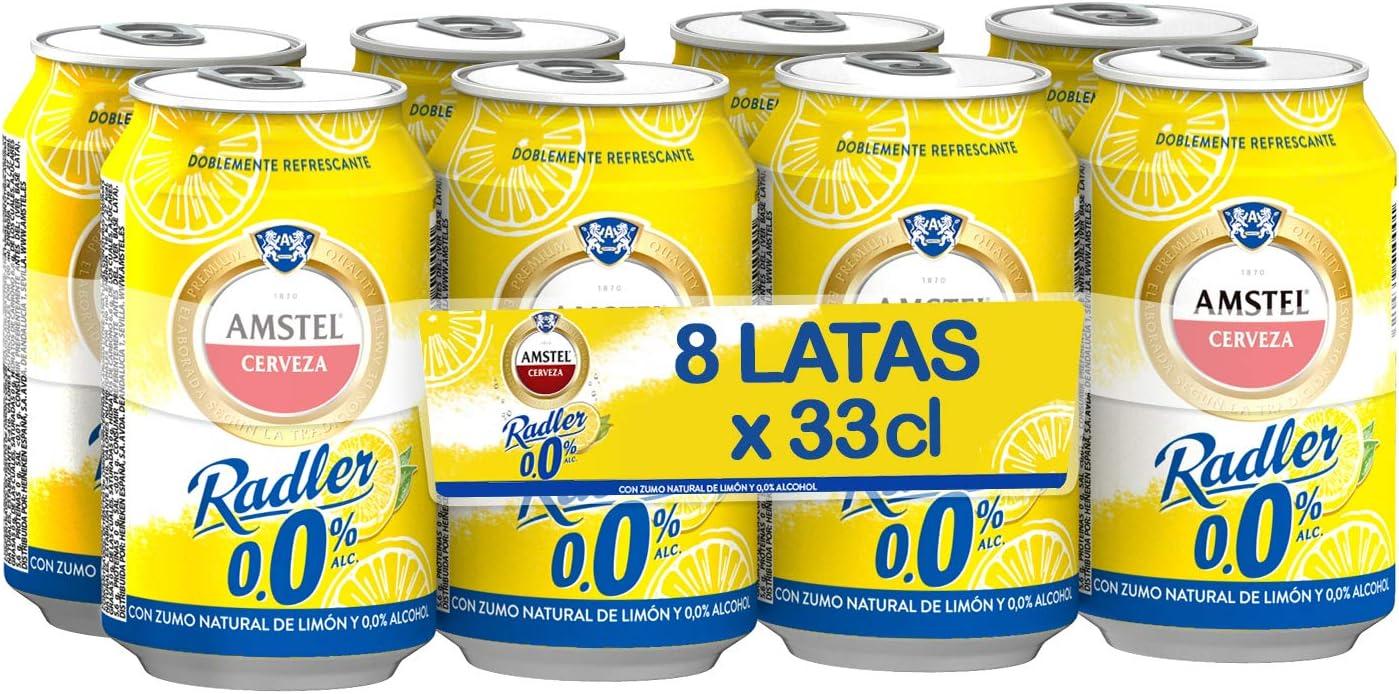 Amstel Radler 0.0 Limon Cerveza - Caja de 8 Latas x 330 ml (Total: 2.64 L)