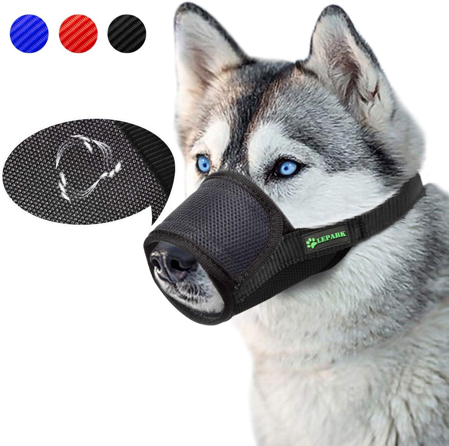 ILEPARK Respirable Bozal de Nylon para Perros Suave Permite Beber, Jadear Bozal Lazo Ajustable (L,Negro)
