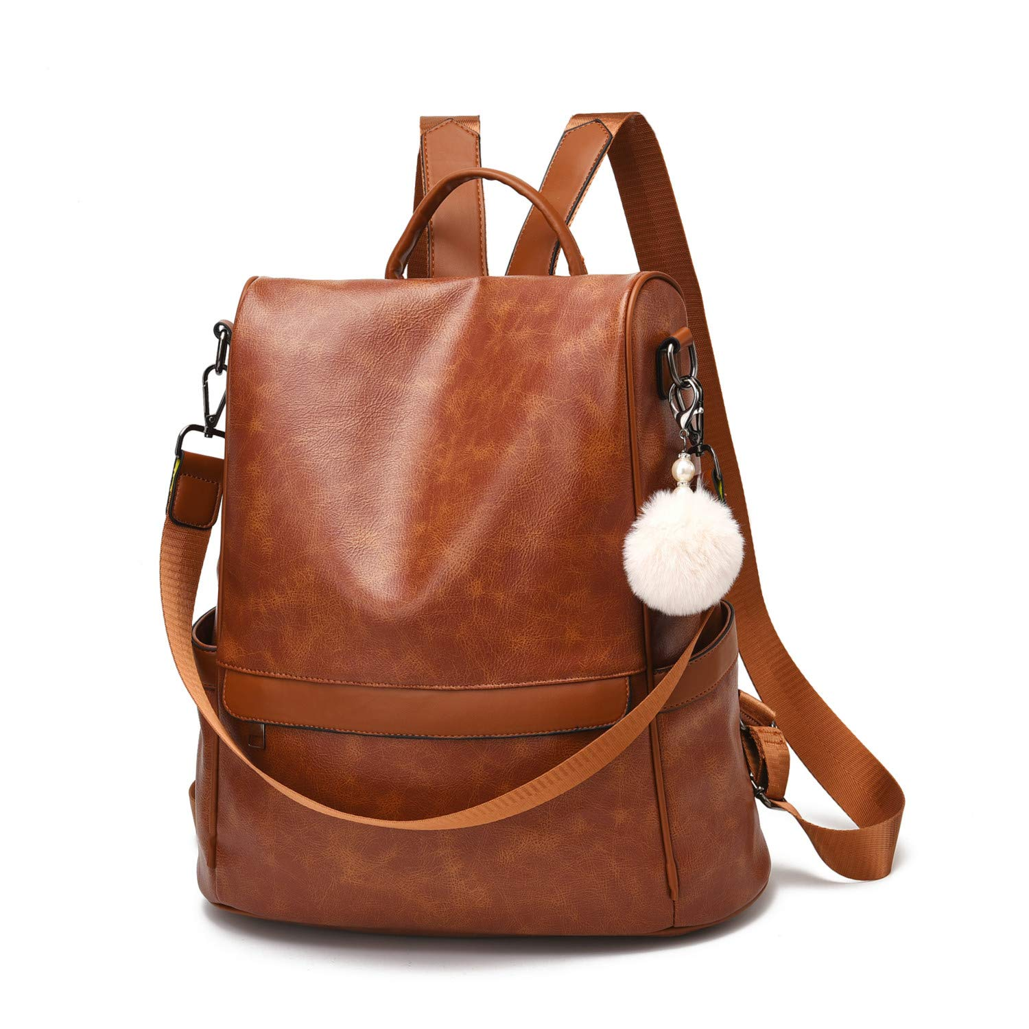 Women Backpack Purse PU Leather Anti-theft Casual Shoulder Bag Fashion Ladies Satchel Bags (Tan-Large) by Cheruty