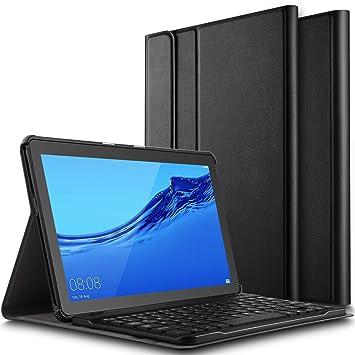 ELTD Teclado Estuche para Huawei MediaPad T5 10,[QWERTY Inglés], Slim Protectora Funda con Desmontable Wireless Teclado para Huawei MediaPad T5 10 ...