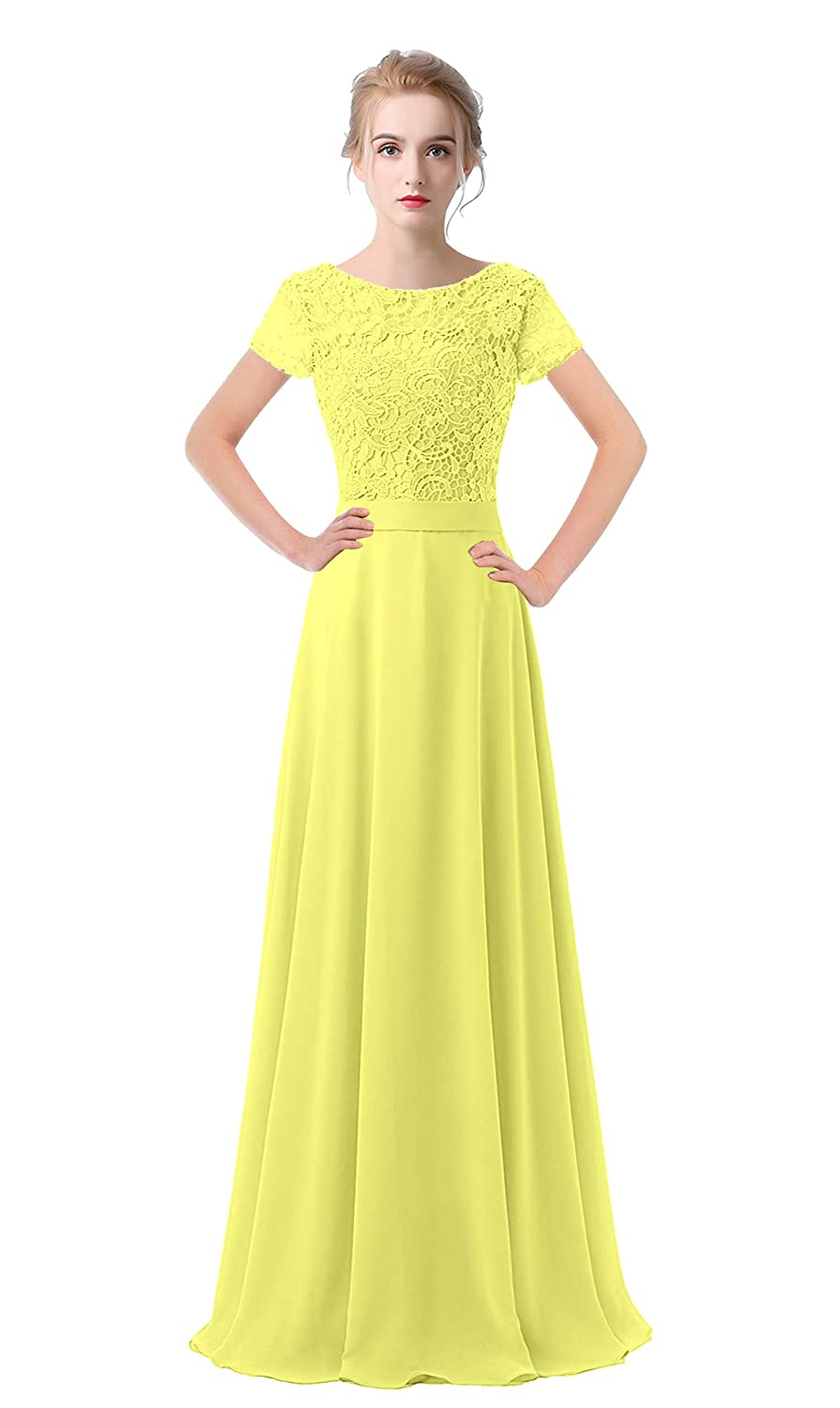 Yellow VaniaDress Women Lace Short Sleeves Long Evening Dress Prom Gown V061LF