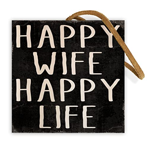Amazon Com Happy Wife Happy Life 4 Inch By 4 Inch Wooden