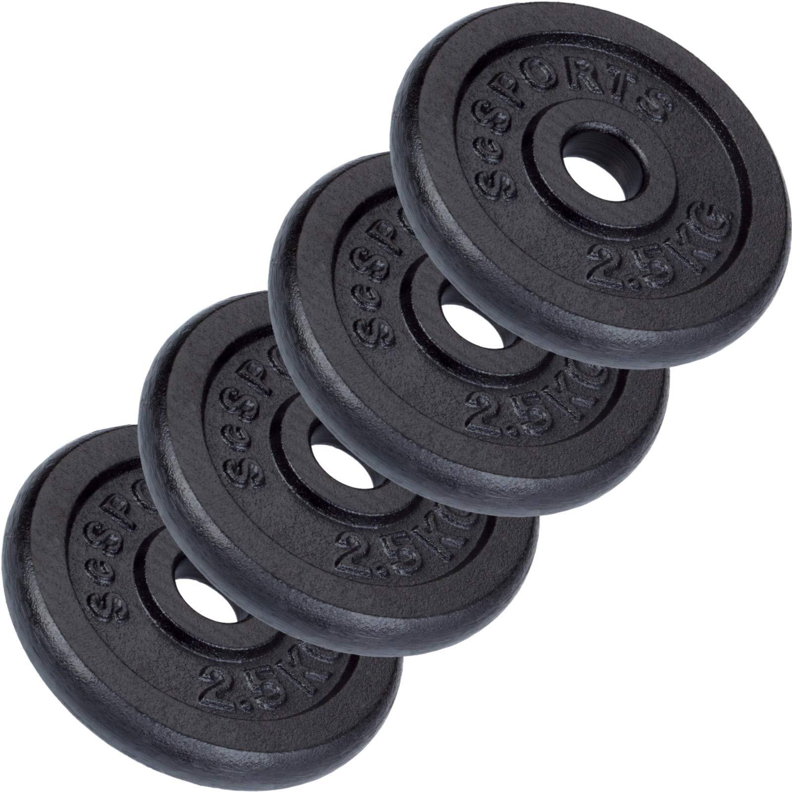 ScSPORTS - Pesas en forma de disco, 4 unidades de 2,5kg