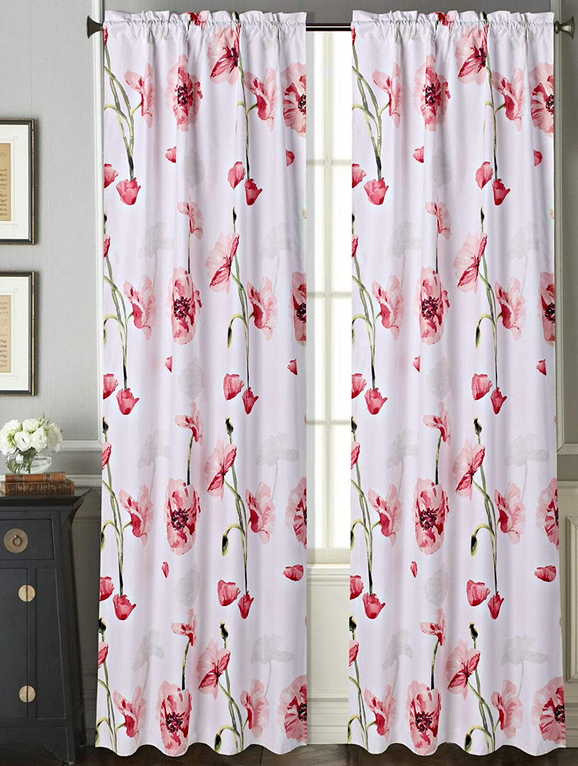 Decorative Floral Print DRP 63 Pink Sapphire Home 2 Rod Pocket Curtain Panels 63 Inches Long Light Filtering Room Darking Thermal Foam Back Lined Curtain Panels for Living//Bedroom//Patio Door
