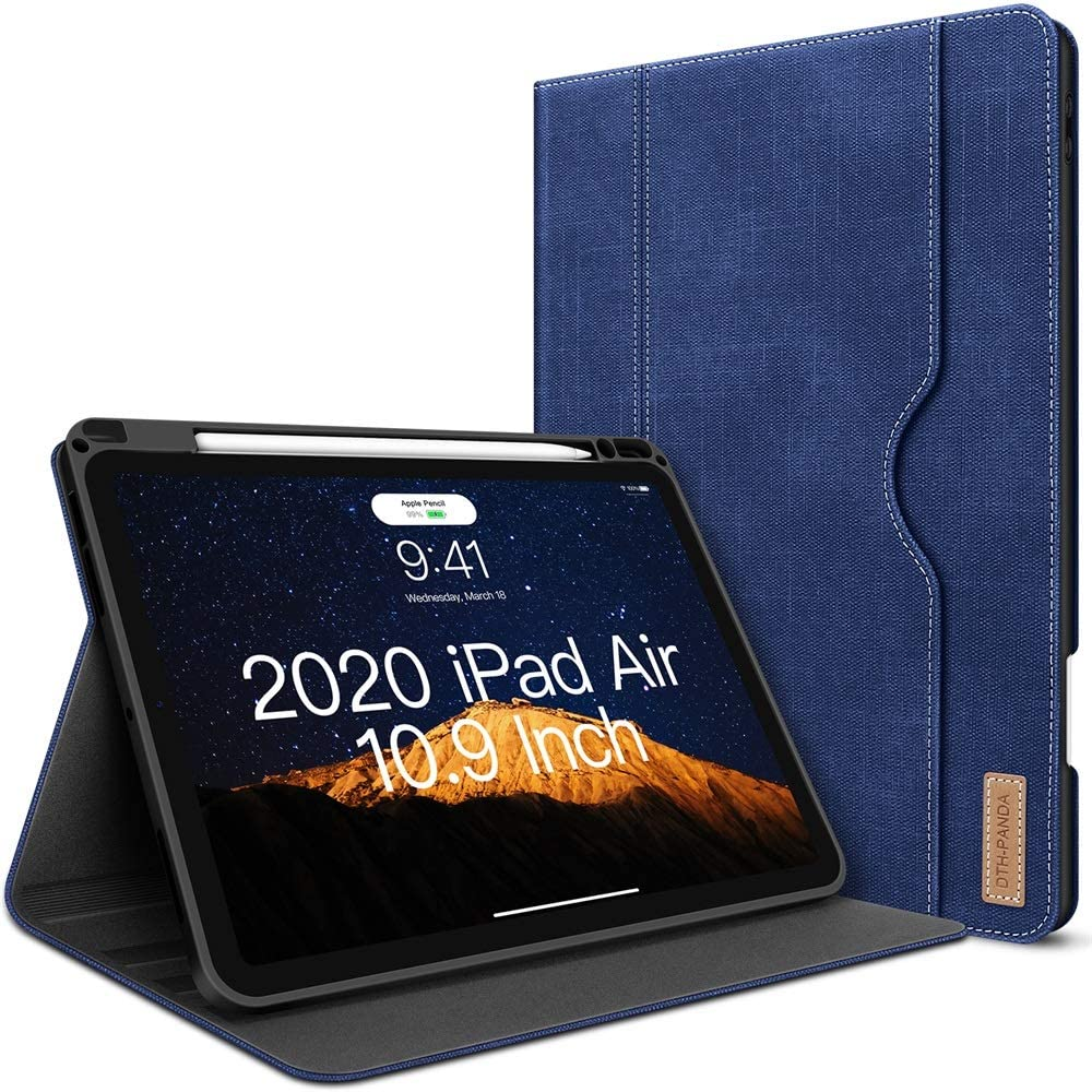 iPad Air 4th Generation Case 2020 New iPad Air 10.9 Inch Case W Pencil Holder PU Leather Folio Stand Smart Cover with Pocket Auto Sleep/Wake[Supports Wireless Charging] (Midnight Blue)