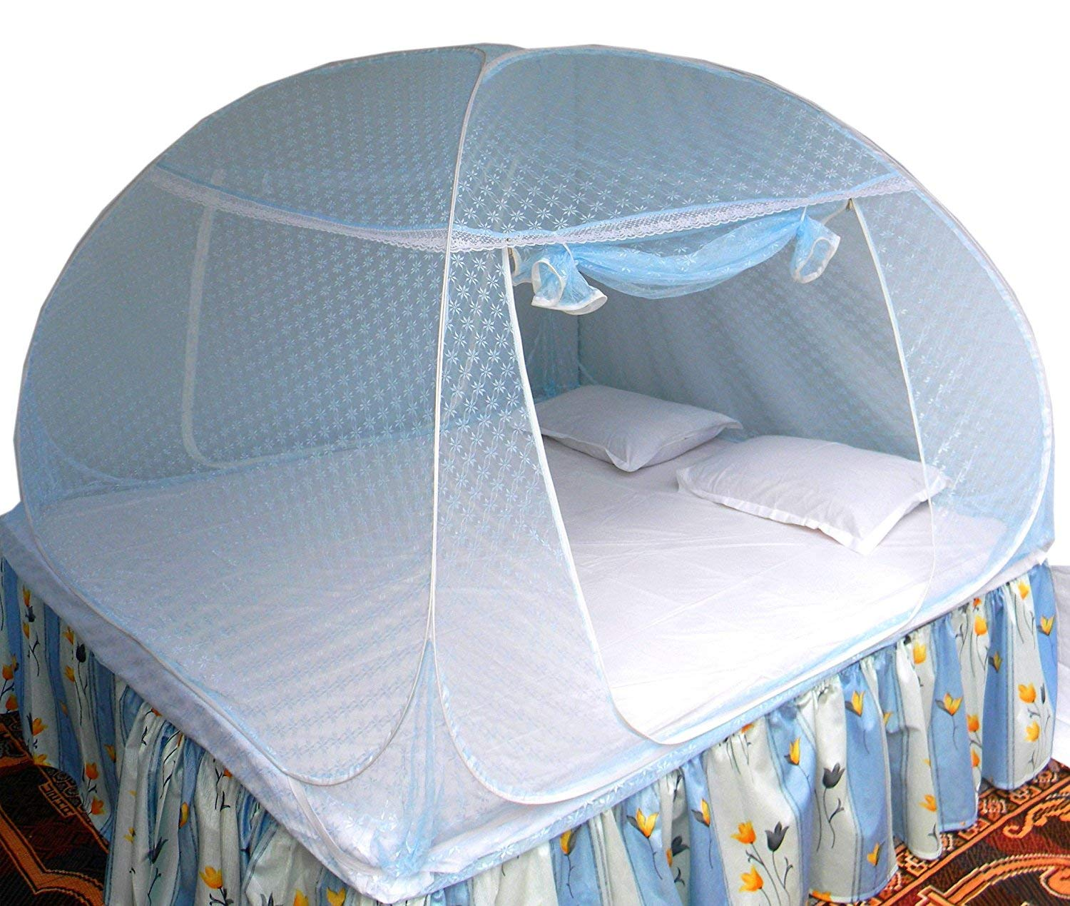 Healthy Sleeping Foldable Polyester Double Bed Mosquito Net - Embroidery (Sky Blue) product image