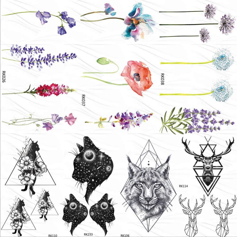 KAMRL Tatuaje Falso Tatuaje Flor Color De Rosa, Lavanda, Tatuajes ...