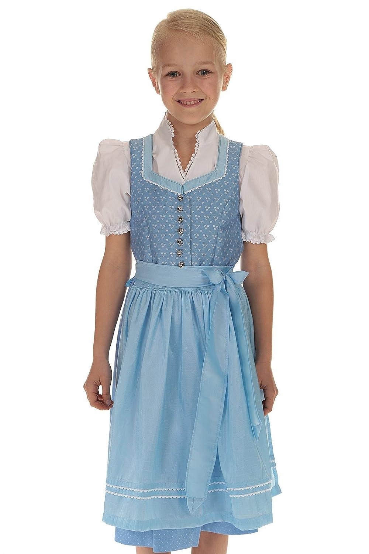 Turi Landhaus Kinder Dirndl hellblau Trachtenkleid Mädchen blau Kleid Mädchen Tracht 3-teilig