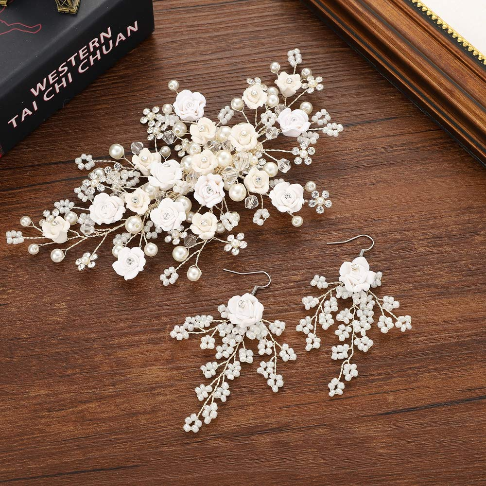 mecresh Bridal Hair Comb Earrings Set Simulated Pearl Crystal Floral Handmade Hair Accessories for Wedding Competition by mecresh