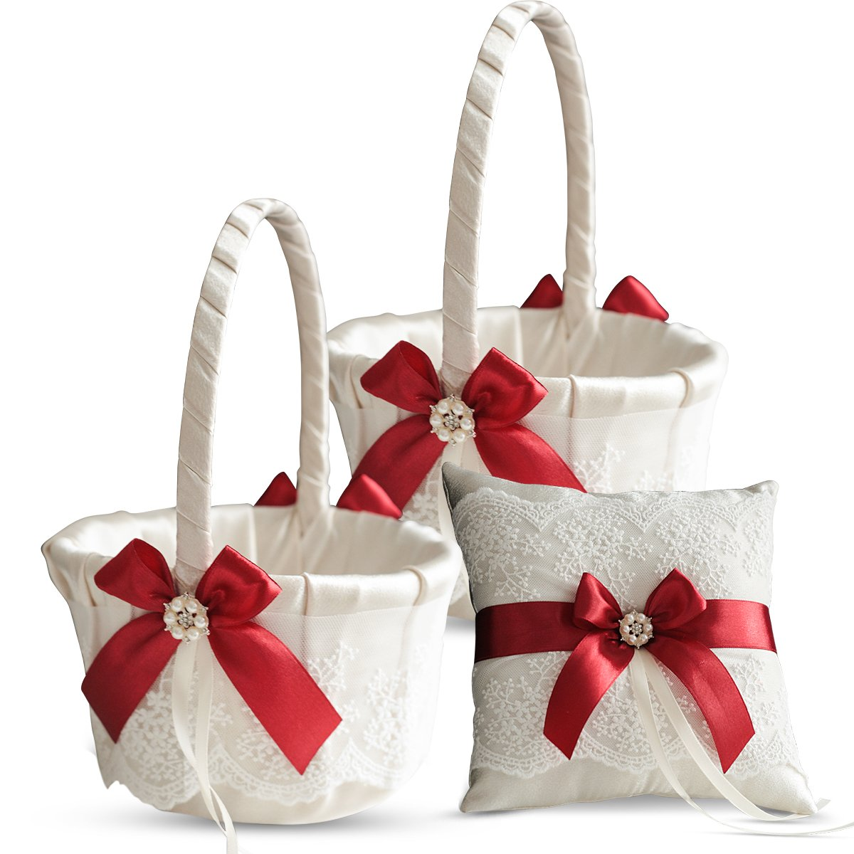 Alex Emotions Ivory Ring Bearer Pillow and Basket Set | Lace Collection | Flower Girl & Welcome Basket for Guest | Handmade Wedding Baskets & Pillows (Scarlet RED)
