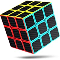 cfmour Speed Cubes(Square in Middle),Rubix cube 3x3,Carbon Fiber Sticker Smooth Speed Rub liks cube 3x3,Magic Cube,Enhanced Version, 5.7cm Black