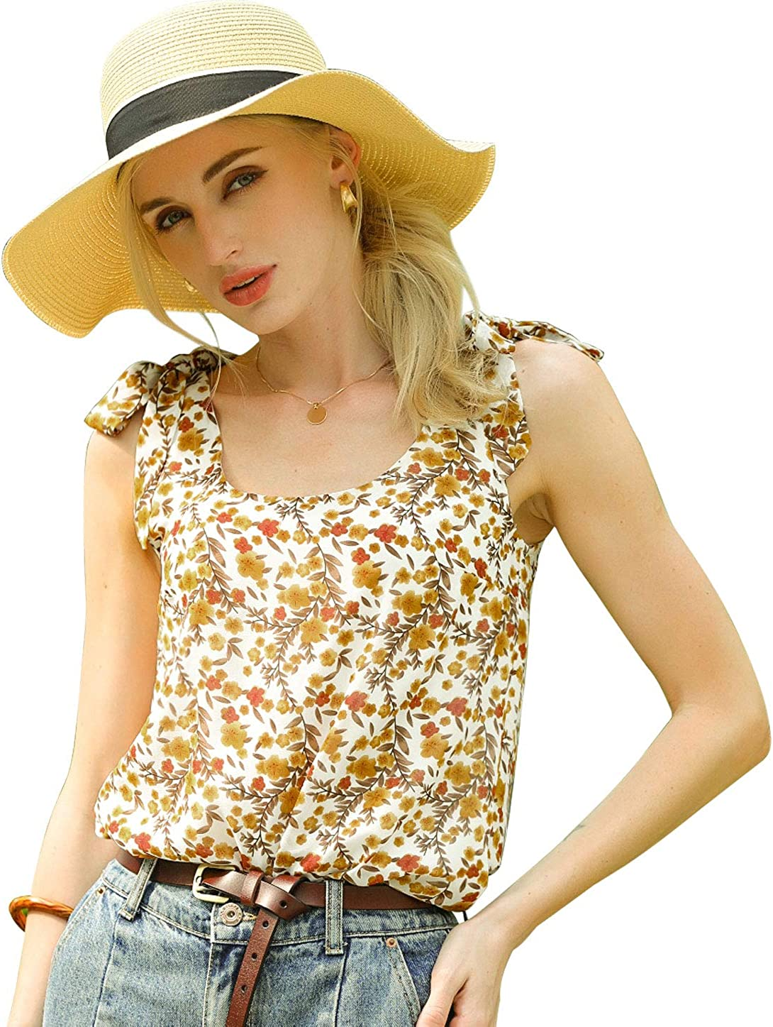 Allegra K Women's Sleeveless Casual Tank Tops Bow Tie Decor Strap Chiffon Floral Blouse