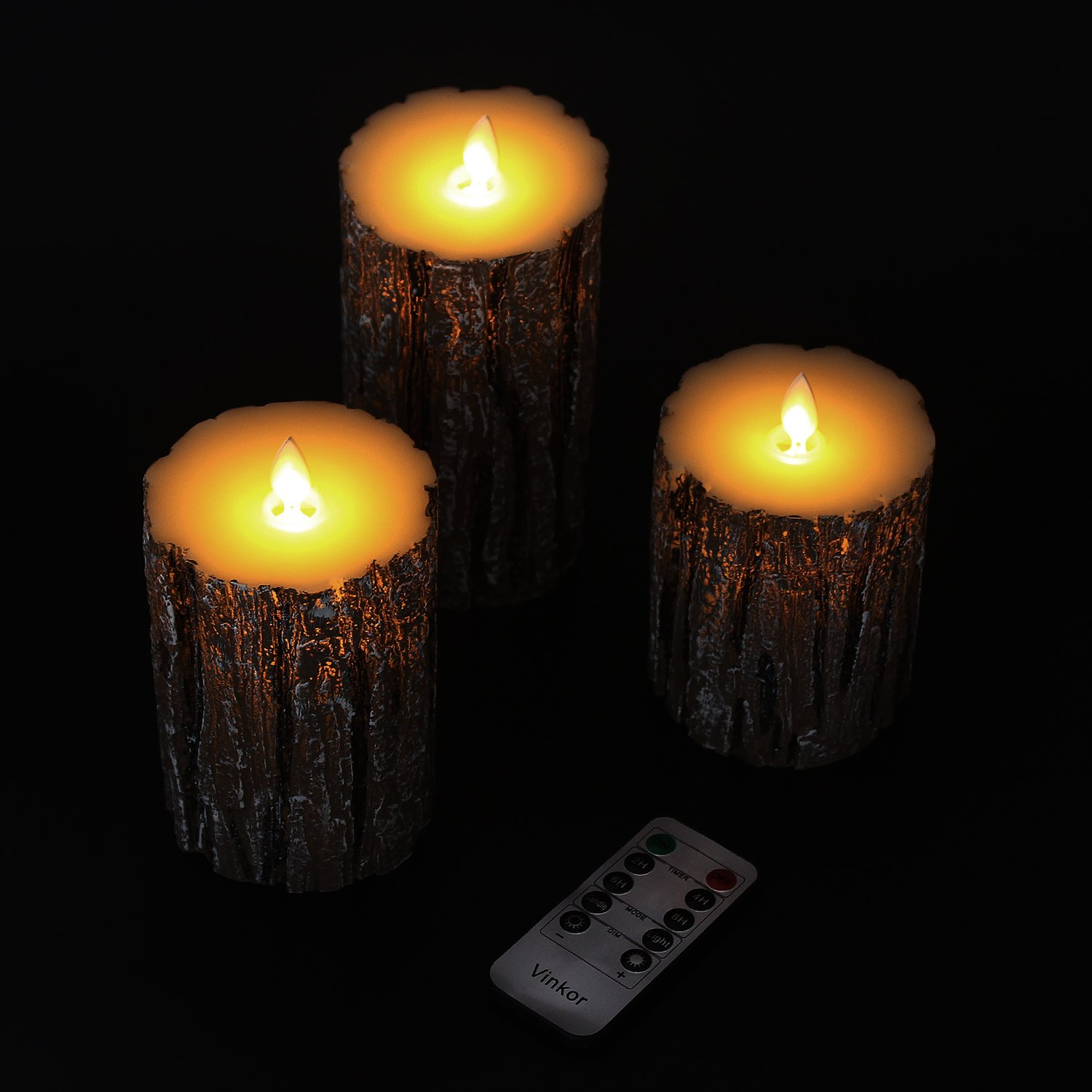 Vinkor Flameless Candles Flickering Candles Decorative Battery Flameless Candle Classic Real Wax Pillar With Dancing LED Flame & 10-key Remote Control 2/4/6/ 8 Hours Timers (Birch Effect) by Vinkor (Image #3)