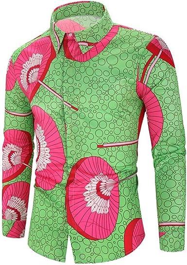 Camisa de Vestir para Hombre, Moda Elegancia Hombre Camisa Manga Larga Slim fit con Botones Solapa Blusa Camisa Hawaiana Primavera otoño cómodo y Casual Top de Estampado: Amazon.es: Ropa y accesorios