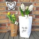2 x BlumentopfEine Tüte Glück - Formbarer und Dekorativer Übertopf Papiertüte - Tolle Geschenkidee