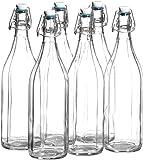 MÄSER 1 Liter Glasflasche mit Bügelverschluss, 10-Kant Glas, im 6er-Set