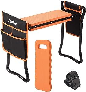 LANNIU Bundle of Heavy Duty Gardening Tools Set & Garden Kneeler and Seat