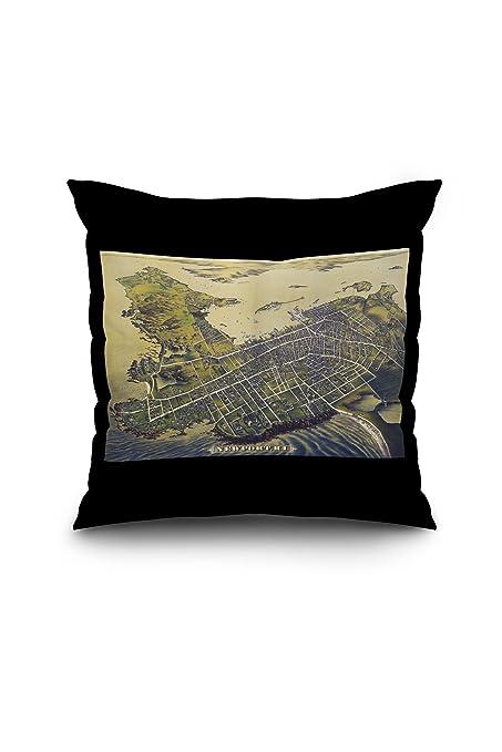 Newport Rhode Island Panoramic Map 40 400x400 Spun Polyester Cool Newport Pillow Covers