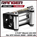 Ranger ATV Winch Roller Fairlead 4 7/8' (124MM) Mount for 2000-3500 LBs ATV Winch by Ultranger Glossy (Black)