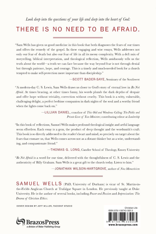 be not afraid facing fear faith samuel wells  be not afraid facing fear faith samuel wells 9781587433023 com books