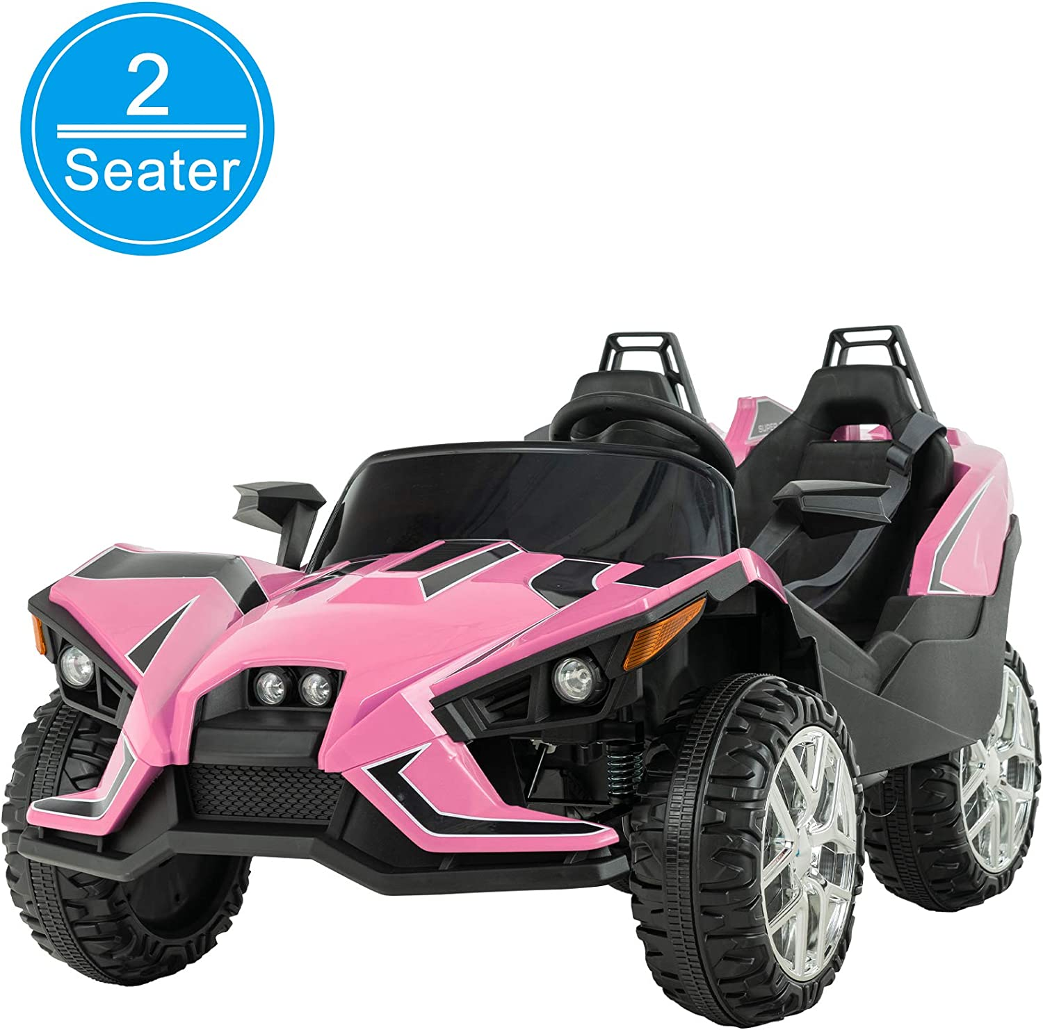 Amazon Com Uenjoy 2 Seats Kids Car 12v Ride On Racer Cars Battery Operated Electric Cars W 2 4g Remote Control Spring Suspension Wheels 4 Speeds Led Lights Music Bluetooth Aux Cord Usb Port Pink Toys Games