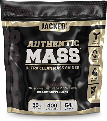 Authentic Mass Gainer – Clean Weight Gainer Protein Powder for Lean Muscle Growth – Muscle Building Bulking Mass Builder for Strength Size – Post Workout Recovery, Chocolate Flavor – 4.4LB