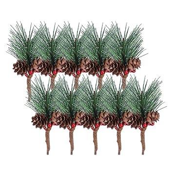Vorcool 10 Unids Pino Artificial Recoge Tallos árboles Con
