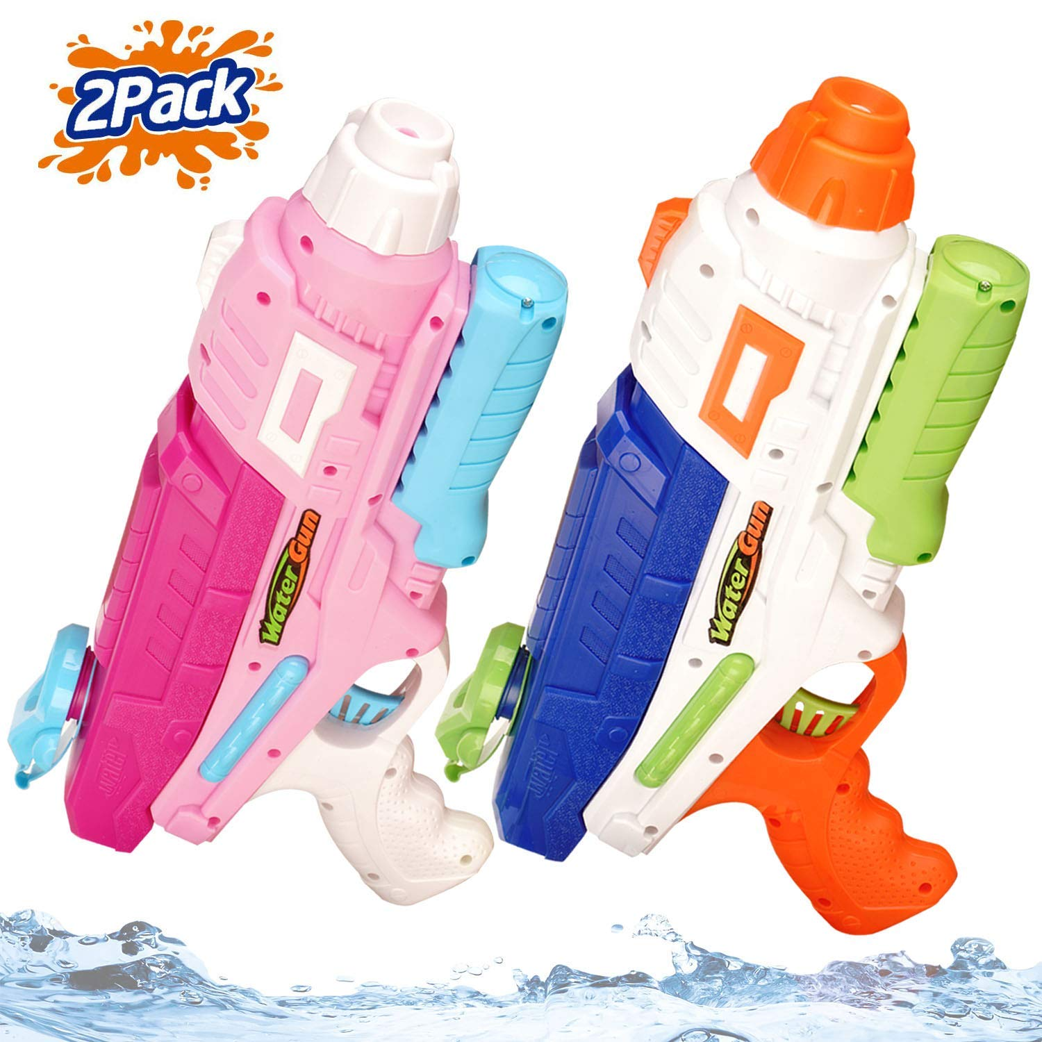 Jogotoll 2 Pack Water Guns for Kids Adults 600CC Blaster 32 Ft Long Range Squirt Guns Pool Beach Sand Toys Water Pistol by Jogotoll