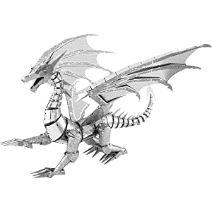 Fascinations Metal Earth ICONX Silver Dragon 3D Metal Model Kit