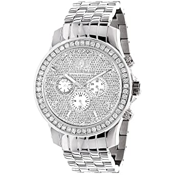 fe34b4f1678 Image Unavailable. Image not available for. Color  Luxurman Watches Mens  Diamond ...