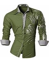 jeansian Homme Chemises Casual Shirt Tops Mode Men Slim Fit Z001