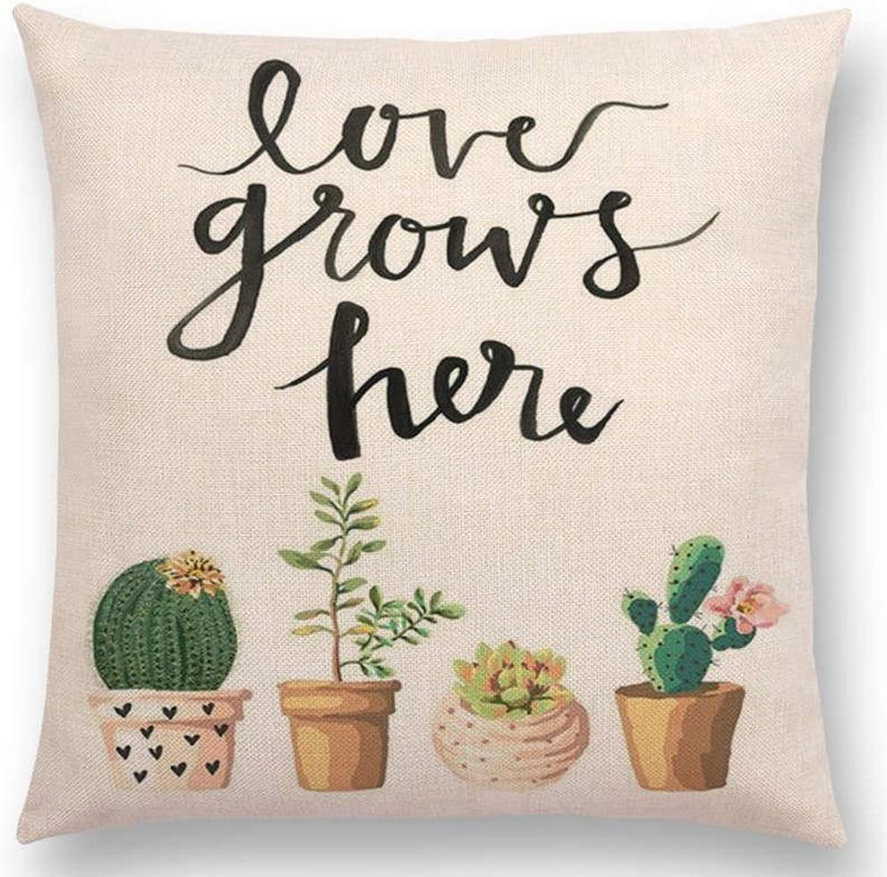 aremazing inspirational quote succulents plants cactus cotton linen home decor pillowcase throw pillow cushion cover 18 x 18 inches love grows here