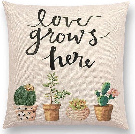 "18/"" succulentes Pattern Pillow Case Cotton Linen Sofa Cushion Cover Home Decor"