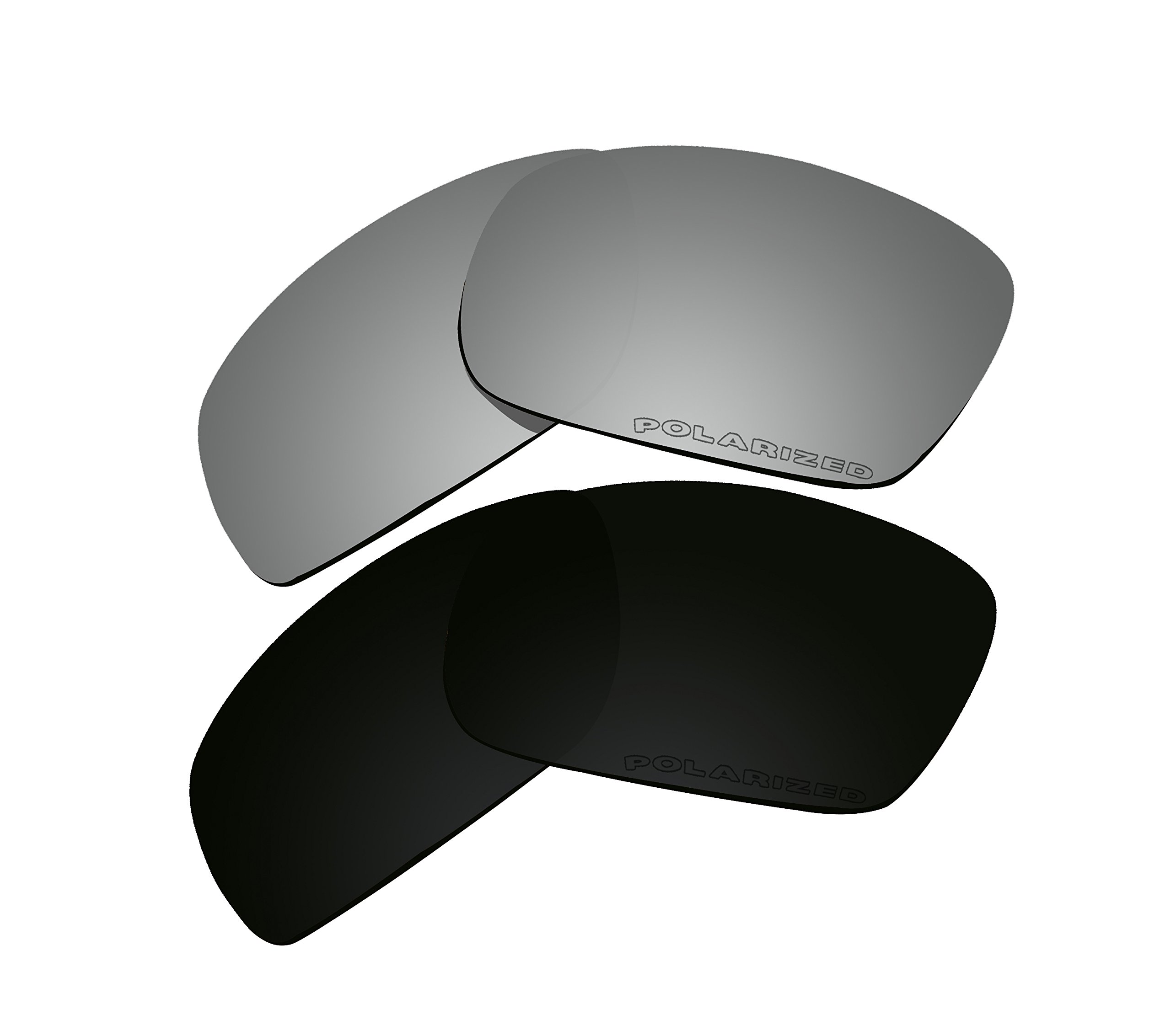 2 Pairs Polarized Lenses Replacement Black & Black Iridium for Oakley Fives Squared New (2013) OO9238 Sunglasses