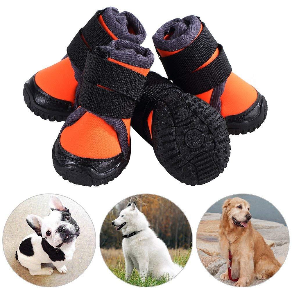 JunBo Chaussure pour Chien Protection Chausson pour Chien Antidérapant pour Exterieur Randonnée Sport (60, Orange)