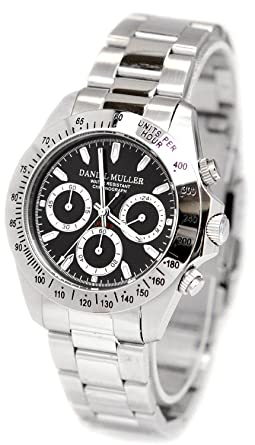 DANIEL MULLER watch chronograph Black x Silver for men DM-2003BK