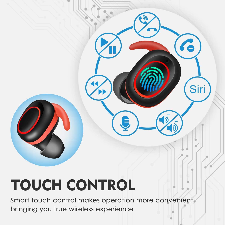 Control T/áctil 40 Horas de Duraci/ón TWS Deportivos Auriculares con Micr/ófono IPX7 Verdadero Sonido Est/éreo Auriculares LCD Estuche de Carga 800mah bakibo Auriculares Inal/ámbricos Bluetooth 5.1