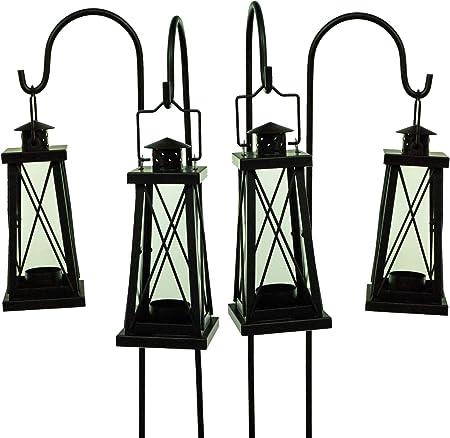 east2eden Set of 4 Cream Tea Light Garden Lanterns with Shepherds Crooks