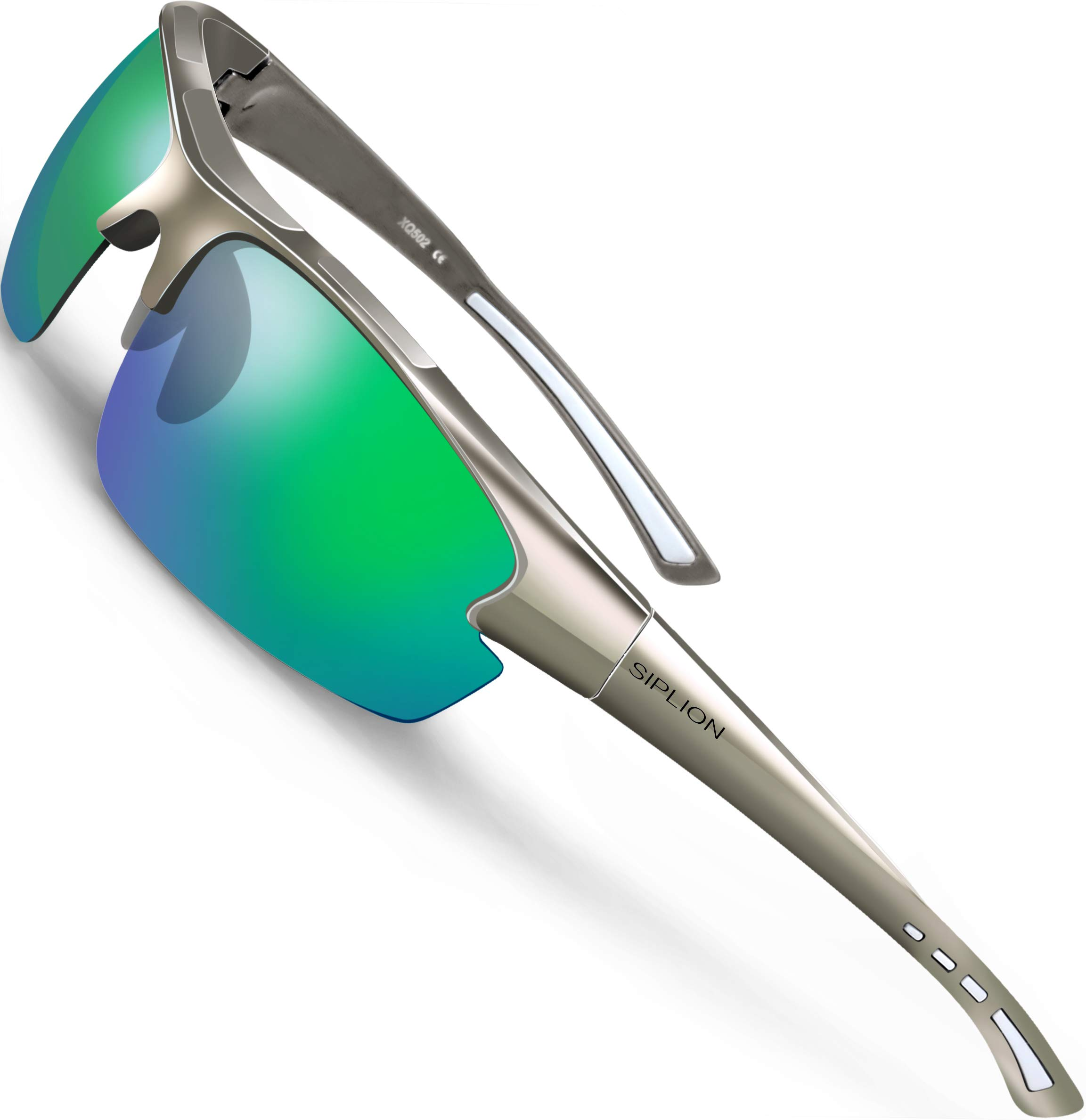 SIPLION Men's Polarized Sunglasses Sports Glasses for Cycling Fishing Golf TR90 Superlight Frame (Gray+Green, as the pictures) by SIPLION