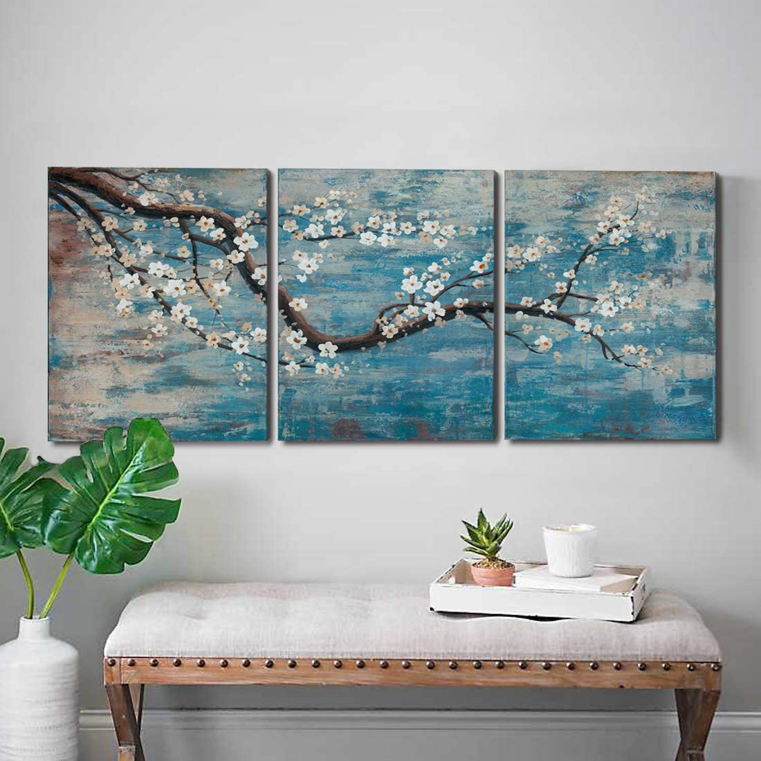Ejart 3 Piece Wall Art Hand-Painted Framed Flower Oil Painting On Canvas Gallery Wrapped Modern Floral Artwork for Living Room Bedroom D cor Teal Blue Lake Ready to Hang 36 x16