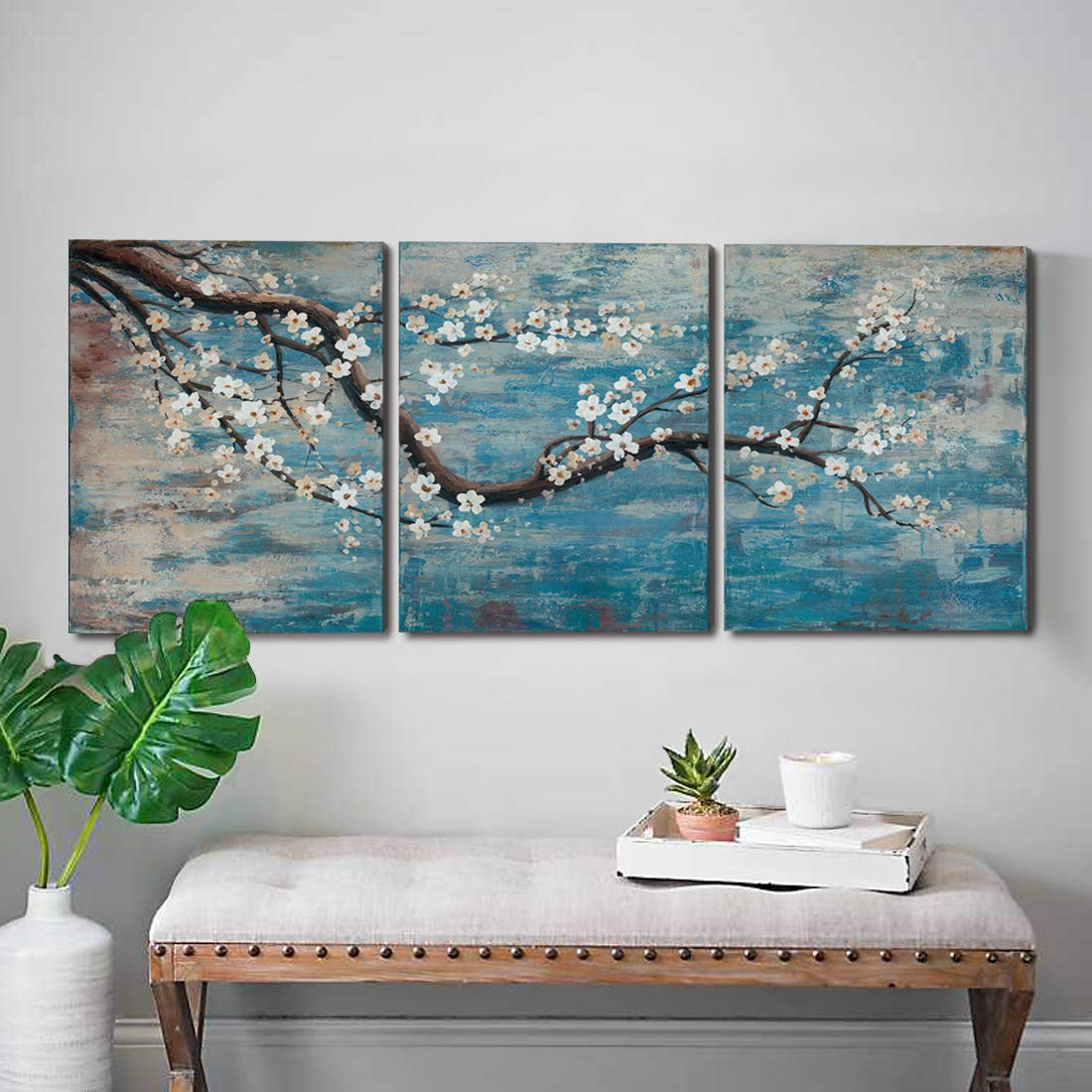 """amatop 3 Piece Wall Art Hand-Painted Framed Flower Oil Painting On Canvas Gallery Wrapped Modern Floral Artwork for Living Room Bedroom Décor Teal Blue Lake Ready to Hang 12""""x16""""x3 Panel"""