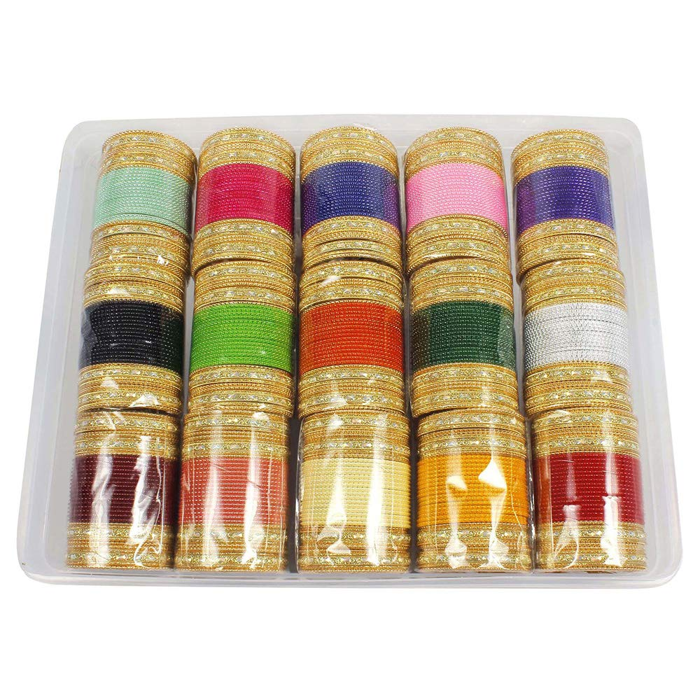 MUCH-MORE Bollywood Fashion Mat Indian Bangles Box Multi Color Party wear Bangles Traditional Jewelry (53, 2.4)