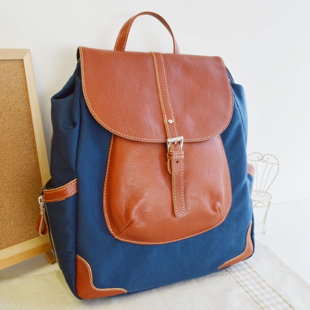 本革 リュック リュックサック ブルーオレンジ 牛革使用 日本製 No2634 人気 通勤 通学バッグ レディースバッグ (鞄 かばん バッグ)   B072Q37P22