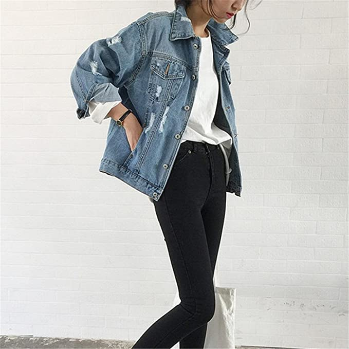 Henraly Jean Jackets New Spring Women Denim Coats Loose Long Sleeved Female Jacket Large Size Mujer at Amazon Womens Coats Shop