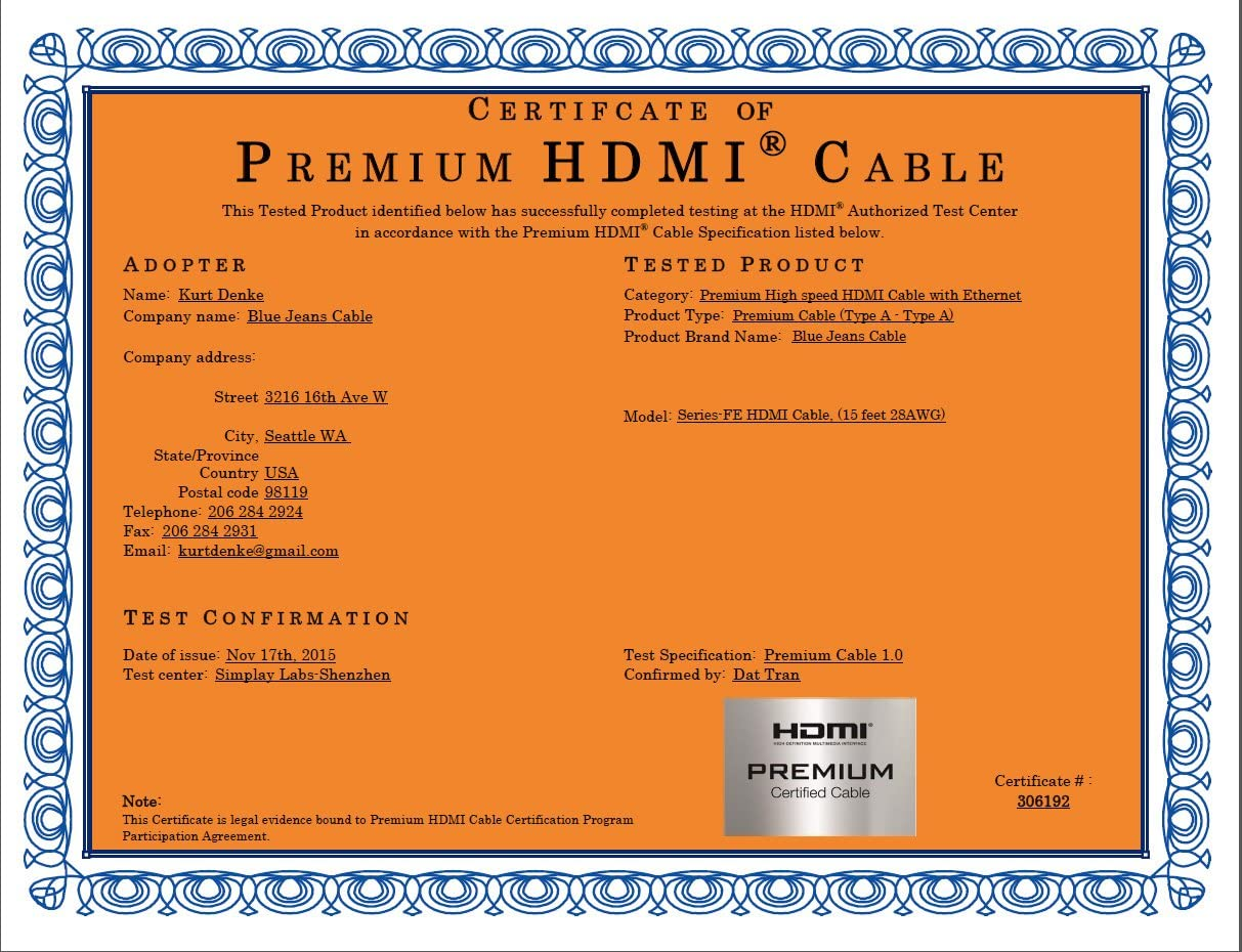 BJC Series-FE Bonded-Pair Premium High-Speed HDMI Cable with Ethernet, 15 Foot, Black